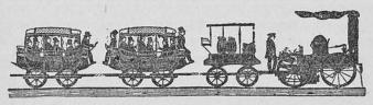 Det första bantåget i Amerika.