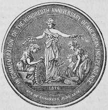 Medalj till minne af etthundrade årsdagen<baf Förenta staternas oafhängighet.
