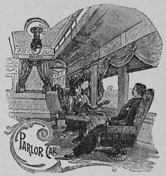 Salongvagn i ett amerikanskt järnvägståg.